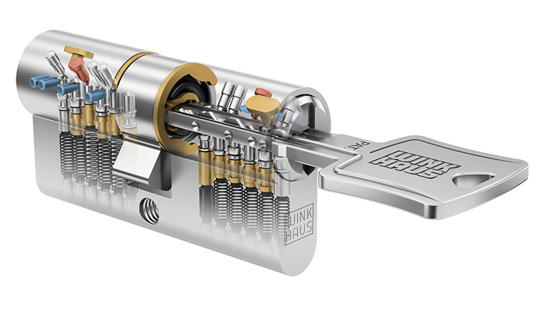 przekroj wkładki bębenkowej Winkhaus z włożonym kluczem