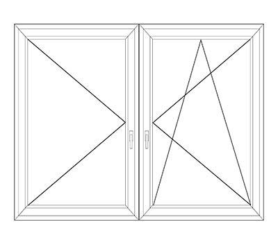 Okno dwuskrzydłowe uchylno rozwierne